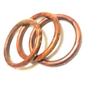 Jewelry - 3 Wood bangle bracelets